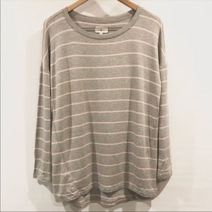 Lou & Grey | Pink Gray Striped Blouse Long Sleeve